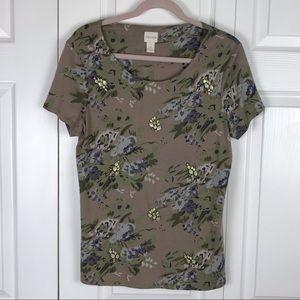 Chico's Floral Embellished T Shirt Size Med 1